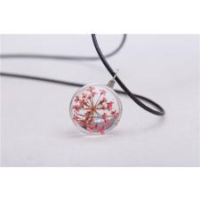 Üvegbe zárt pink virág medálos nyaklánc nyaklánc