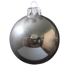 Üvegkarácsonyfadíszek Fényes perfekt szürke gömb 10cm-es 4db karácsonyi dekoráció