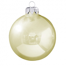 Üvegkarácsonyfadíszek Fényes pezsgő színű gömb 8cm-es 6db karácsonyi dekoráció