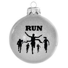 Üvegkarácsonyfadíszek Futás 8 cm-es, flitteres ezüst üveggömb. Rendelje akár névre szólóan. karácsonyi dekoráció