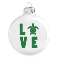 Üvegkarácsonyfadíszek Love teknős mintás, fényes fehér gömb. Rendelje akár névre szólóan. karácsonyi dekoráció