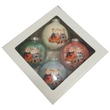 Üvegkarácsonyfadíszek Macik párban  8 cm-es  üveggömbön 4db karácsonyi dekoráció