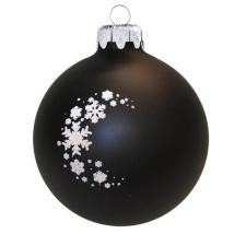 Üvegkarácsonyfadíszek Matt fekete üveggömb, csillogó hópelyhekkel. Rendelje névre szólóan! karácsonyi dekoráció