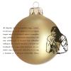 Üvegkarácsonyfadíszek Mi Atyánk matt arany, üveggömbön, 8 cm-es