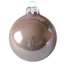 Üvegkarácsonyfadíszek Opál magnólia gömb 8cm-es 6db karácsonyi dekoráció