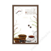 . Üzenőtábla órával és naptárral, 30x45 cm, barna keret (VBD001)