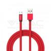 V-tac 1M Micro USB kábel piros rubin széria - 8497