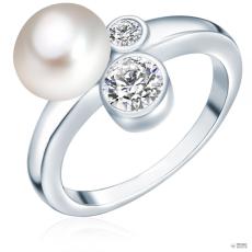 ValeroPearls ValeroGyöngys gyűrű Sterling ezüst Süßwasser-ZuchtGyöngy Fehércirkónia Fehér gombform gyűrű 56