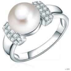 ValeroPearls ValeroGyöngys gyűrű Sterling ezüst Süßwasser-ZuchtGyöngy Fehérgombform cirkónia Fehér gyűrű 60