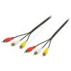 Valueline RCA - RCA összekötő kábel RCA x3 apa - RCA x3 apa  5m Valueline VLVP24300B50