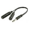 Valueline Sztereó Audio Kábel 6.35 mm-es Dugó - 2 db 6.35 mm-es Aljzat 0.20 m Fekete Valueline vlap23110b0-20