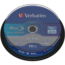 Verbatim BD-R Dual Layer 6x 50 gigabyte, 10 db cakebox írható és újraírható média