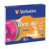 Verbatim DVD-R lemez, színes felület, AZO, 4,7GB, 16x, vékony tok, VERBATIM (DVDV-16V5S)