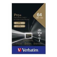 "Verbatim Memóriakártya, microSDXC, 64GB, CL10/U3, 90/80 MB/s, adapter, VERBATIM ""PRO+"" memóriakártya"