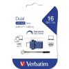 """Verbatim Pendrive, 16GB, USB 3.0+USB-C adapter, VERBATIM, """"DUAL"""""""