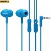 Vezetékes sztereó fülhallgató, 3.5 mm jack, felvevő gomb, 3 pár fülgumi, Remax, kék