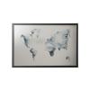 """VICTORIA Üzenőtábla, ezüst,  mágneses, 60x40 cm, fekete keret,  VICTORIA, """"Világtérkép"""""""