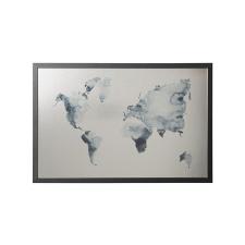 """VICTORIA Üzenőtábla, ezüst,  mágneses, 60x40 cm, fekete keret,  VICTORIA, """"Világtérkép"""" térkép"""