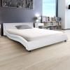 vidaXL 140x200 cm műbőr ágy matraccal fehér