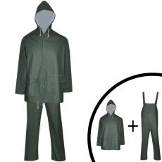 vidaXL 2 darabos vízálló nagy teherbírású csuklyás eső ruha méret XXL zöld