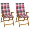vidaXL 2 db dönthető tömör akácfa kerti szék párnákkal