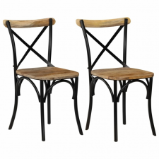 vidaXL 2 db fekete tömör mangófa keresztezett szék 51 x 52 x 84 cm bútor
