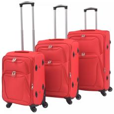 vidaXL 3 darabos, piros, puha fedeles görgős bőröndszett