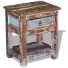 vidaXL 43x33x51 cm 1 fiókos tömör újrahasznosított fa kis asztal