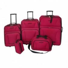 vidaXL 5 darabos piros utazóbőrönd szett kézitáska és bőrönd