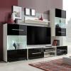 vidaXL 5 részes fali TV állvány szett fekete LED világítással