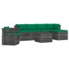 vidaXL 7 részes tömör fenyőfa kerti raklap-bútorgarnitúra párnákkal