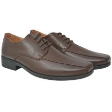 vidaXL Barna, fűzős férfi business cipő, 40-es méret, PU bőr