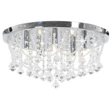 vidaXL ezüstszínű kerek mennyezeti lámpa kristálygyöngyökkel 4 x G9 világítás
