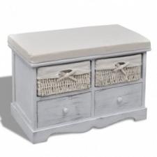 vidaXL Fehér láda / pad 2 db fonott kosárral 2 db fiókkal ülőpárnával bútor