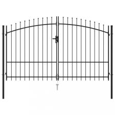 vidaXL Fekete acél lándzsahegy tetejű kétajtós kerítéskapu 3 x 2 m kerti dekoráció