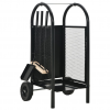 vidaXL fekete acél tűzifakocsi 30 x 35 x 81 cm