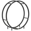 vidaXL fekete acél tűzifatároló 70 x 20 x 70 cm