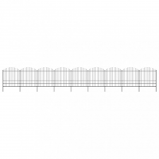 vidaXL Fekete lándzsahegy tetejű acélkerítés (1,75-2) x 15,3 m kerti dekoráció