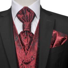 vidaXL Férfi Praisley esküvői mellény szett méret 48 burgundi bőr szín