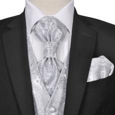 vidaXL Férfi Praisley esküvői mellény szett méret 48 ezüst szín