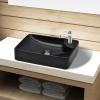 vidaXL Fürdőszoba kerámia mosdó Csaptelep lukkal fekete