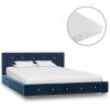 vidaXL Kék bársonyágy matraccal 120 x 200 cm