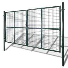 vidaXL két kapus pórszórt acél kerítés építőanyag