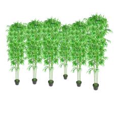 vidaXL Lakberendezés 6 db. Bambusz Műnövény fa és növény