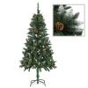 vidaXL műkarácsonyfa fenyőtobozokkal és fehér csillámmal 150 cm