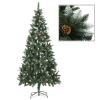 vidaXL műkarácsonyfa fenyőtobozokkal és fehér csillámmal 210 cm