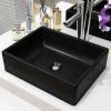 vidaXL négyszögletes, fekete kerámia mosdókagyló 41 x 30 x 12 cm