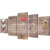 """vidaXL Nyomtatott vászon falikép szett """"Home Sweet Home"""" dizájn 200 x 100 cm"""