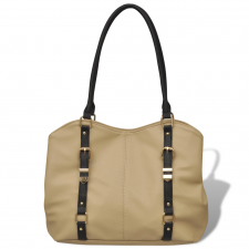 vidaXL Táska bézs színű kézitáska és bőrönd