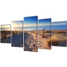 vidaXL Vászon falikép szett homokos tengerpart 200 x 100 cm grafika, keretezett kép